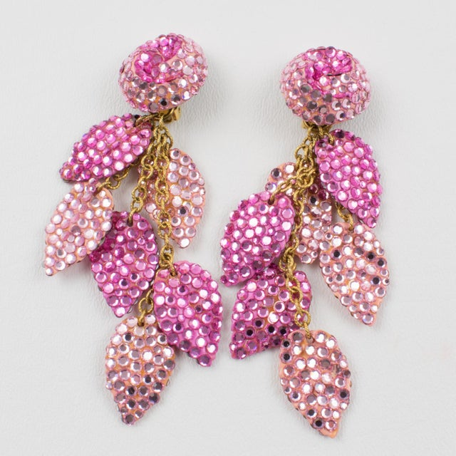 Pink Richard Kerr Oversized Dangle Pink Jeweled Clip Earrings For Sale - Image 8 of 8