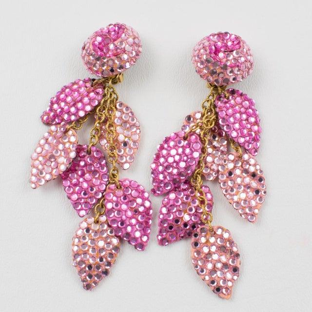 Black Richard Kerr Oversized Dangle Pink Jeweled Clip Earrings For Sale - Image 8 of 8