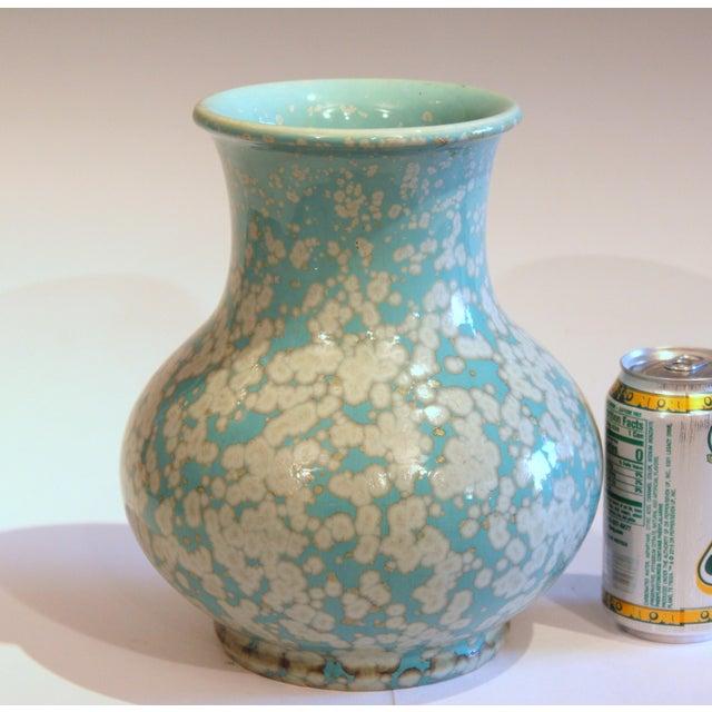 Japanese Studio Porcelain Antique Old Crystalline Sky Blue Hu Form Vase For Sale - Image 11 of 12