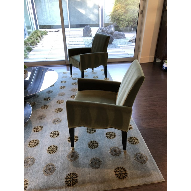 Artelano Cafe Marly Chairs from FRANCE. 2 vert color arm chairs with varnished beechwood dark mahogany and brass hardware....