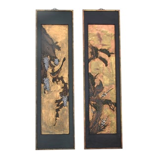 Chinese Lacquered Carved Wood Panel Pair For Sale