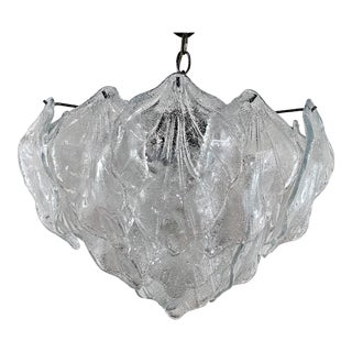1970s Vistosi Murano Leaf Glass Chandelier For Sale
