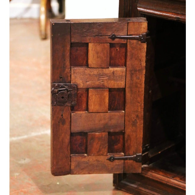 17th Century Spanish Catalan Carved Walnut Two-Door Buffet Cabinet For Sale In Dallas - Image 6 of 13