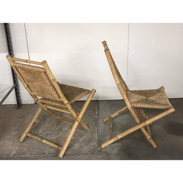 Pair of Faux Bamboo Campaign Chairs in the Manner of Maison Jansen For Sale - Image 4 of 9