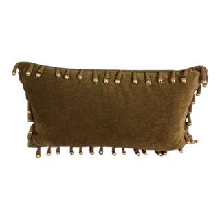 Boho Chic Olive Green Fabric Tasseled Decorative Pillow
