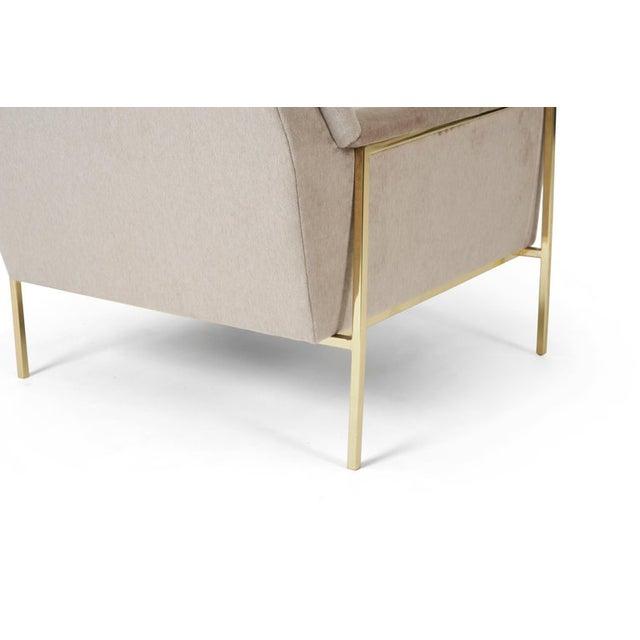 Harvey Probber Velvet Upholstered Brass Frame Lounge Chair Attributed to Harvey Probber For Sale - Image 4 of 7