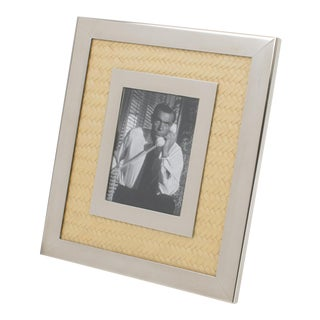 Italian Designer Signed Chrome and Straw Marquetry Picture Frame For Sale
