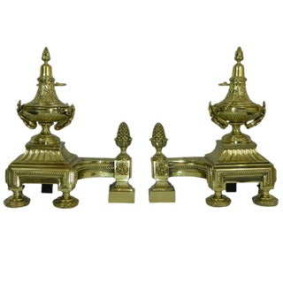 Pair of Chenets or Andirons With Urns Motif and Acorn Finials, 19th Century For Sale