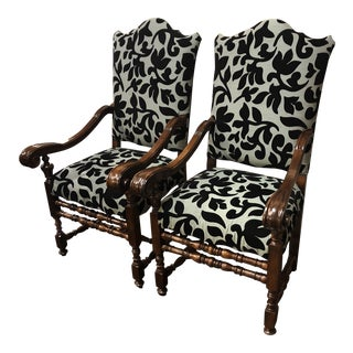 Italian Walnut Louis XIII Style Arm Chairs - A Pair For Sale