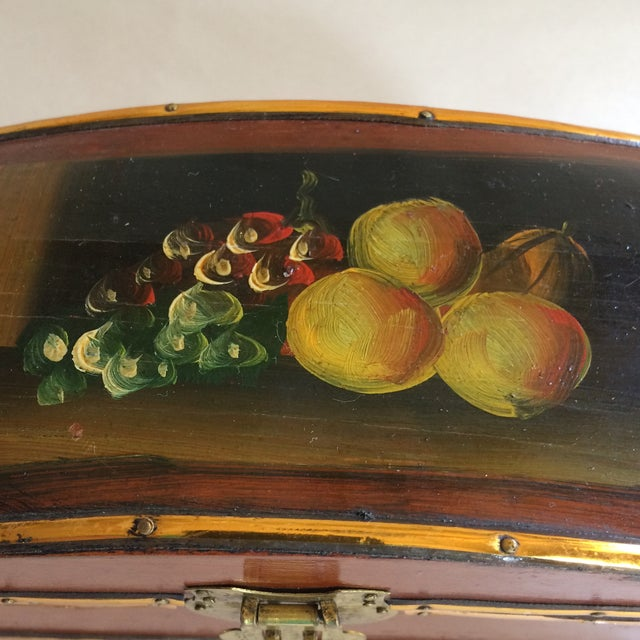 Vintage Hand Painted Fruit Motif Wooden Box For Sale In Sacramento - Image 6 of 11