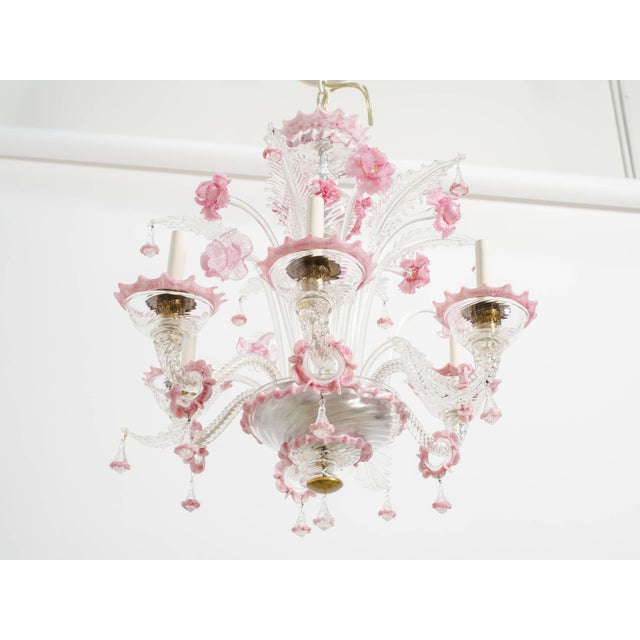 Glass 1950s Venetian Pink Six-Arm Chandelier For Sale - Image 7 of 10