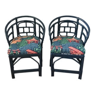 1960s Vintage Brighton Pavilion Lacquered Faux Bamboo Chairs For Sale