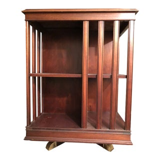 Antique Revolving Mahogany and Walnut Bookcase For Sale