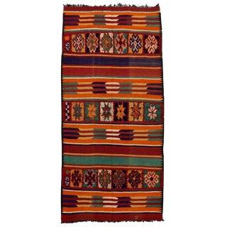 Vintage Mid-Century Berber Moroccan Kilim Rug - 6′3″ × 13′3″ For Sale
