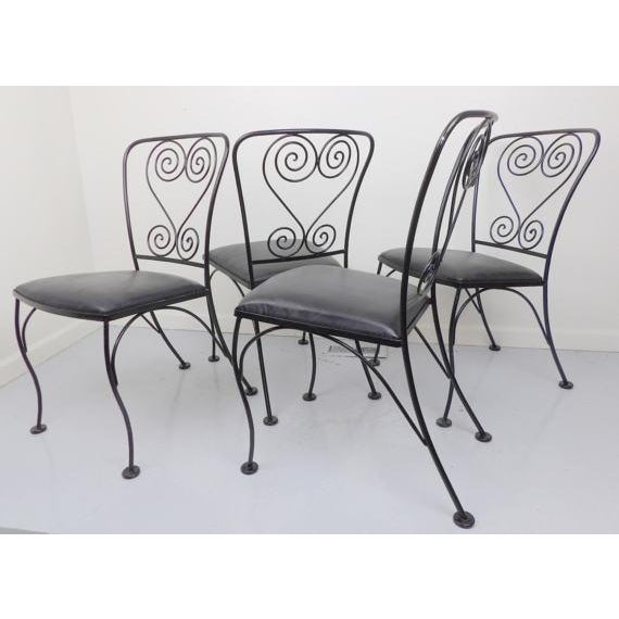 Vintage Black Wrought Iron Patio Chairs - Set of 4 For Sale - Image 5 of 6