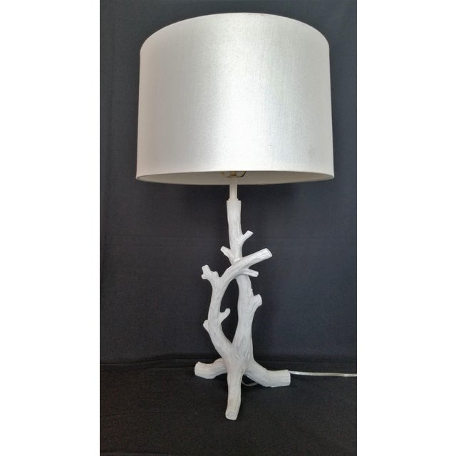 Offering a RESTORED pair of vintage faux bois table lamps , circa 1990s. These contemporary lamps are done in the Serge...