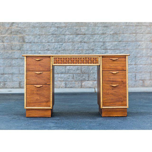 Mid-Century Modern Vintage Mid-Century Lane Furniture Perception Partner Desk For Sale - Image 3 of 8
