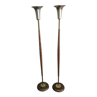 Vintage Mid Century Modern Carved Wood Torchiere Floor Lamps - a Pair For Sale