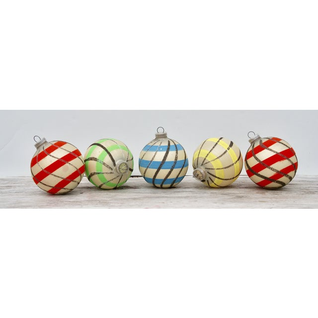 Striped West German Christmas Ornaments - Set of 5 For Sale - Image 11 of 11
