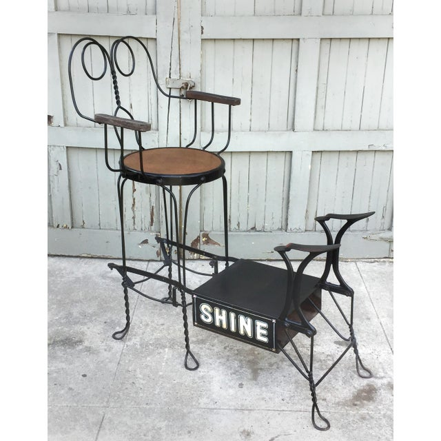 Metal Antique Twisted Iron Shoe Shine Stand For Sale - Image 7 of 7