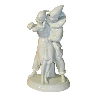 1930's German Blanc De Chine Pierrot and Pirette Porcelain Couple For Sale