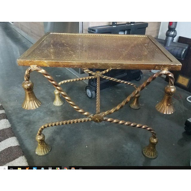 Hollywood Regency Italian Gilt Tole Rope Tassel Bench For Sale - Image 9 of 9