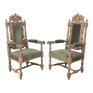 Pair 19th Century Black Forest Stripped Oak Armchairs For Sale