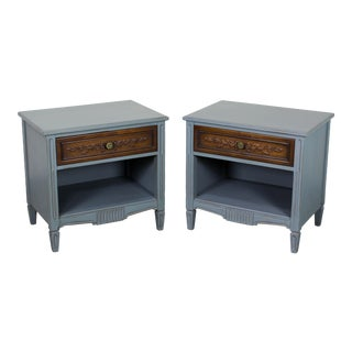 Gray Vintage Mid Century Nightstands - a Pair For Sale