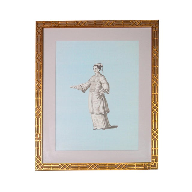 Framed Chinoiserie Painting of Chinese Noblewoman in Grisailles on Silk For Sale - Image 4 of 4