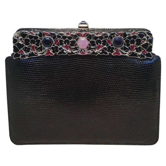 Judith Leiber Black Lizard Floral Enamel Top Clutch For Sale - Image 9 of 9