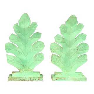 Green Tin Leaves Mounted - a Pair For Sale