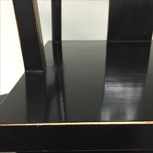 Black Solid Wood Lacquered Chairs - A Pair - Image 8 of 10