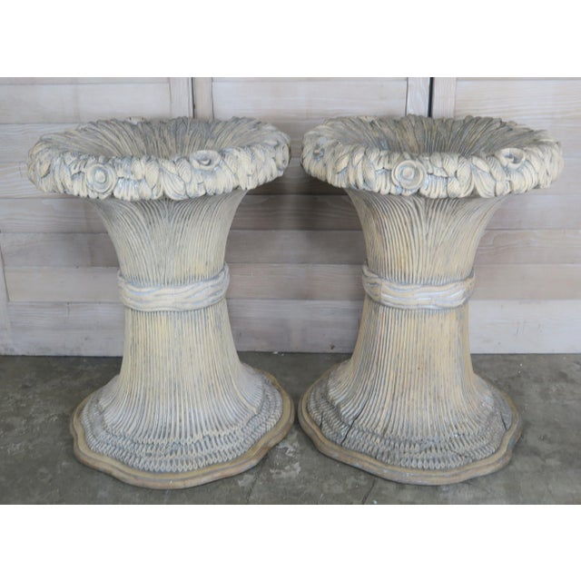 French Carved Harvest Wheat Planters, Pair For Sale - Image 10 of 10