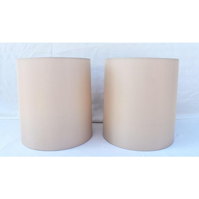 Modern Gray Silk Cylinder Shades W/Diffusers - a Pair For Sale - Image 3 of 3