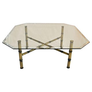 Gold Faux-Bamboo Cocktail Table For Sale