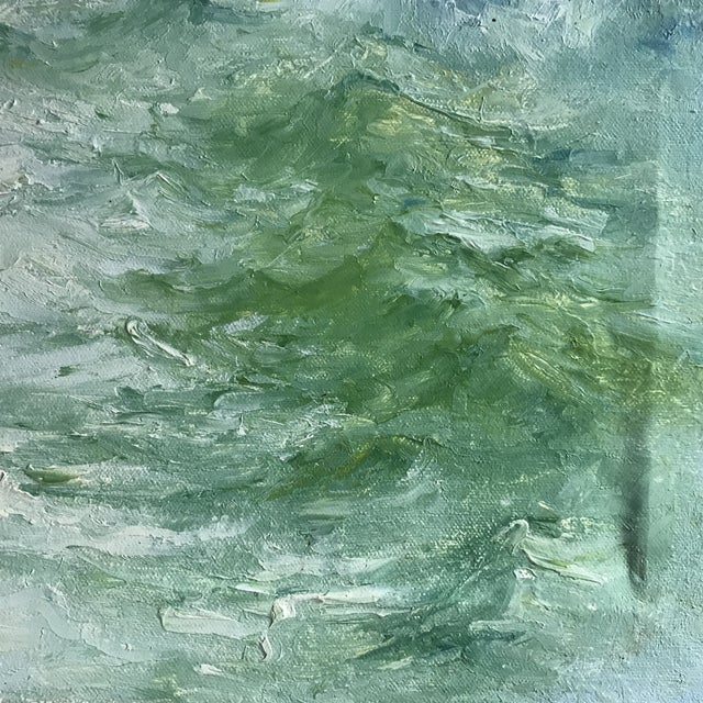 "Oil Paint ""Breaking Waves"" Framed Oil on Canvas Painting For Sale - Image 7 of 10"