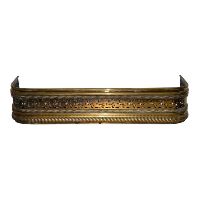 Late 18th to Early 19th Century English Pierced Brass Fire Fender For Sale