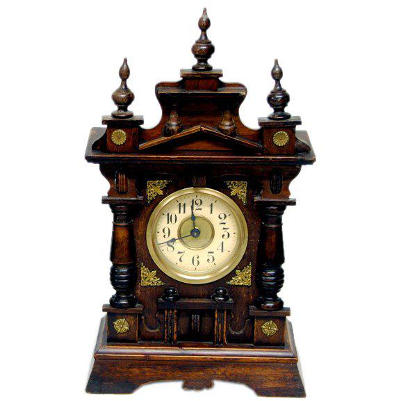 Black Forest German Carved Wood Shelf Clock Black Forest For Sale - Image 3 of 3