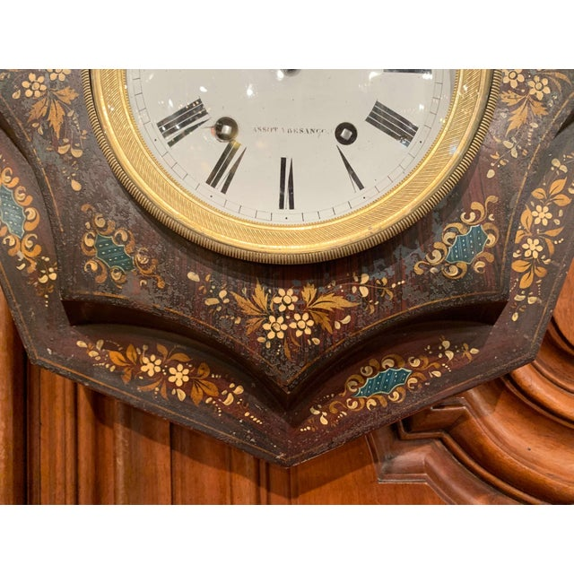 19th Century, French Napoleon III Black and Gilt Painted Tole Wall Clock For Sale - Image 4 of 13