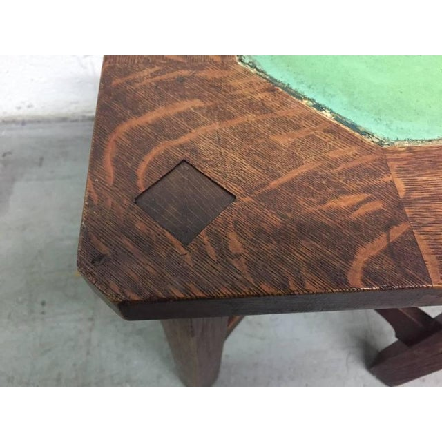 1900 - 1909 Rare Gustav Stickley Grueby Tile-Top Table For Sale - Image 5 of 8
