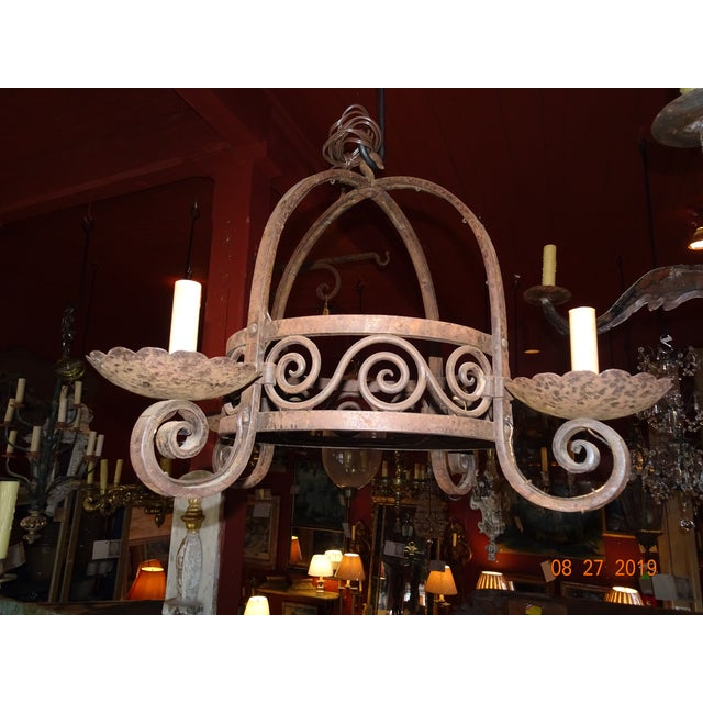 Vintage French Wrought Iron Chandelier For Sale - Image 11 of 12