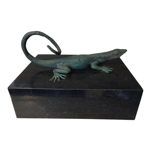 Maitland-Smith Bronze Lizard Tessellated Box For Sale