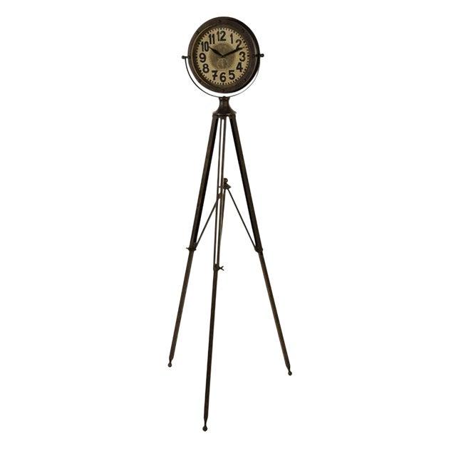Industrial Tripod Clock For Sale