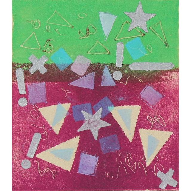 """Laura Lengyel """"Concept Ii"""" Geometric Abstract Monotype, 1987 For Sale - Image 4 of 4"""