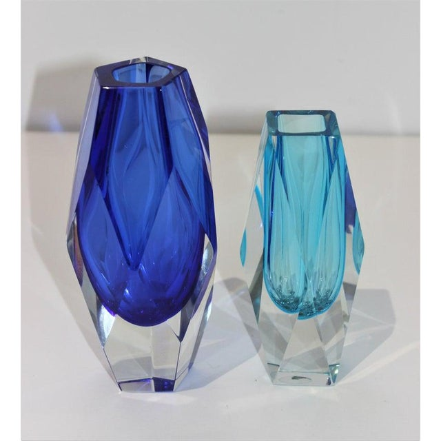 Mid-Century Modern Mid-Century Modern Murano Artistic Cristal Blue Vases - Set of 2 For Sale - Image 3 of 12