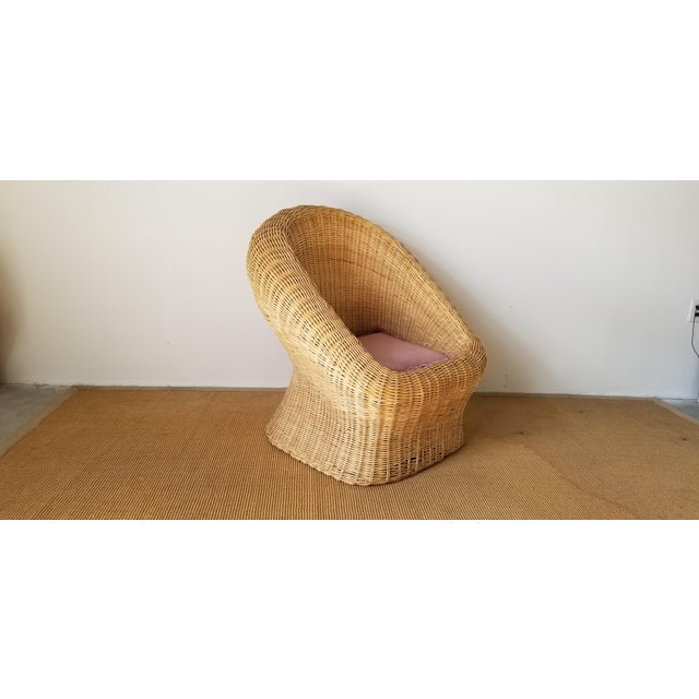 Vintage Woven Wicker Club Chair For Sale - Image 11 of 11