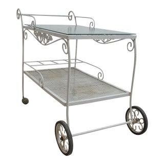 Vintage Woodard Metal Patio Outdoor Tea Cart For Sale