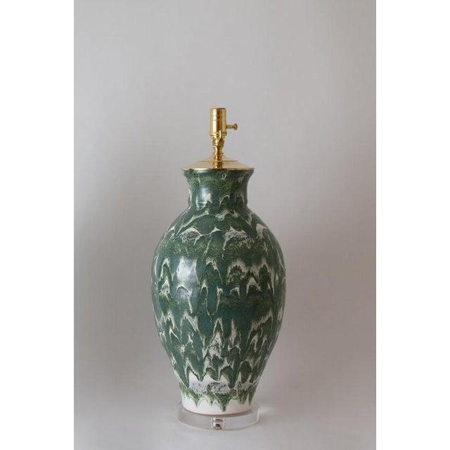 "Paul Schneider Paul Schneider Ceramic ""Matagorda"" Lamp in Drip Banded Forrest Glaze For Sale - Image 4 of 7"