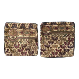 Vintage Persian Handwoven Wool Rug Pillowcases - a Pair For Sale