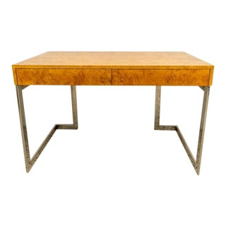 Burlwood and Nickel Writing Desk by Milo Baughman For Sale